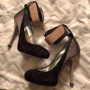 Barbara Bui Metallic Silver Dark Gray Suede Heels